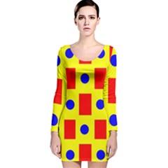 Pattern Design Backdrop Long Sleeve Velvet Bodycon Dress