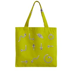 Arrow Line Sign Circle Flat Curve Zipper Grocery Tote Bag