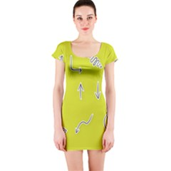 Arrow Line Sign Circle Flat Curve Short Sleeve Bodycon Dress