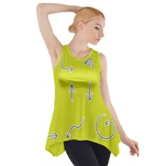 Arrow Line Sign Circle Flat Curve Side Drop Tank Tunic