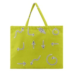 Arrow Line Sign Circle Flat Curve Zipper Large Tote Bag