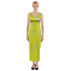 Arrow Line Sign Circle Flat Curve Fitted Maxi Dress