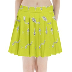 Arrow Line Sign Circle Flat Curve Pleated Mini Skirt