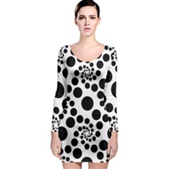 Dot Dots Round Black And White Long Sleeve Bodycon Dress
