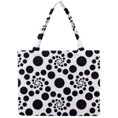 Dot Dots Round Black And White Mini Tote Bag