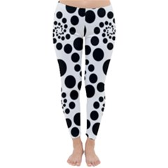 Dot Dots Round Black And White Classic Winter Leggings