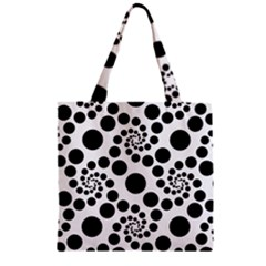 Dot Dots Round Black And White Zipper Grocery Tote Bag