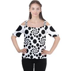 Dot Dots Round Black And White Women s Cutout Shoulder Tee