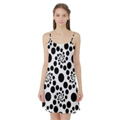 Dot Dots Round Black And White Satin Night Slip