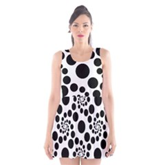 Dot Dots Round Black And White Scoop Neck Skater Dress