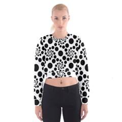 Dot Dots Round Black And White Women s Cropped Sweatshirt