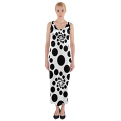 Dot Dots Round Black And White Fitted Maxi Dress