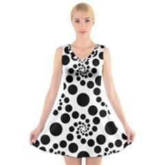Dot Dots Round Black And White V Neck Sleeveless Skater Dress