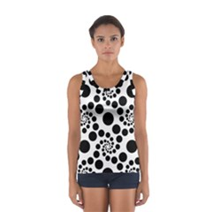 Dot Dots Round Black And White Women s Sport Tank Top