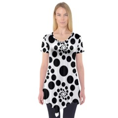 Dot Dots Round Black And White Short Sleeve Tunic