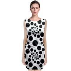 Dot Dots Round Black And White Classic Sleeveless Midi Dress
