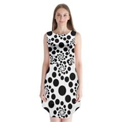 Dot Dots Round Black And White Sleeveless Chiffon Dress