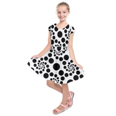 Dot Dots Round Black And White Kids  Short Sleeve Dress