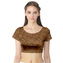 Brown Pattern Rectangle Wallpaper Short Sleeve Crop Top (tight Fit)