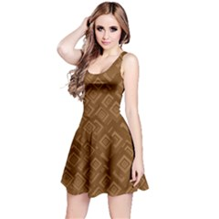 Brown Pattern Rectangle Wallpaper Reversible Sleeveless Dress