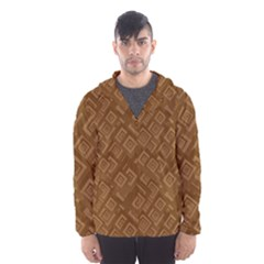 Brown Pattern Rectangle Wallpaper Hooded Wind Breaker (men)