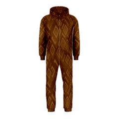 Brown Pattern Rectangle Wallpaper Hooded Jumpsuit (kids)