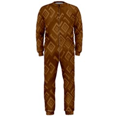 Brown Pattern Rectangle Wallpaper Onepiece Jumpsuit (men)