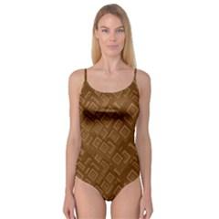 Brown Pattern Rectangle Wallpaper Camisole Leotard