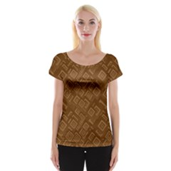 Brown Pattern Rectangle Wallpaper Women s Cap Sleeve Top