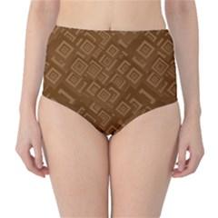 Brown Pattern Rectangle Wallpaper High-Waist Bikini Bottoms