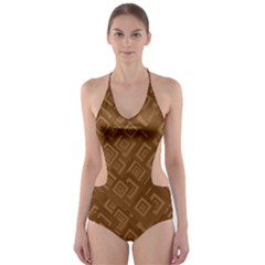 Brown Pattern Rectangle Wallpaper Cut-Out One Piece Swimsuit