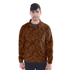 Brown Pattern Rectangle Wallpaper Wind Breaker (men)