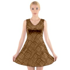 Brown Pattern Rectangle Wallpaper V-Neck Sleeveless Skater Dress