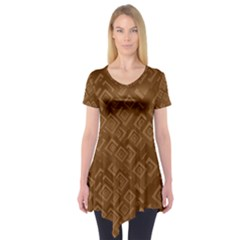 Brown Pattern Rectangle Wallpaper Short Sleeve Tunic