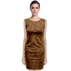 Brown Pattern Rectangle Wallpaper Classic Sleeveless Midi Dress