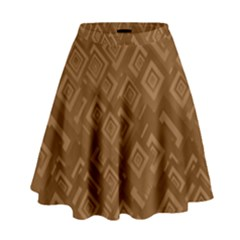 Brown Pattern Rectangle Wallpaper High Waist Skirt