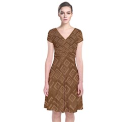 Brown Pattern Rectangle Wallpaper Short Sleeve Front Wrap Dress