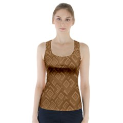 Brown Pattern Rectangle Wallpaper Racer Back Sports Top