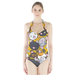 Cats pattern Halter Swimsuit