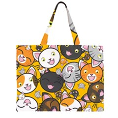 Cats pattern Zipper Large Tote Bag