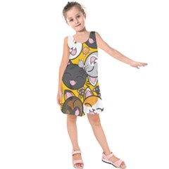 Cats pattern Kids  Sleeveless Dress