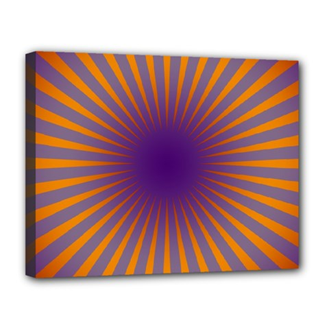 Retro Circle Lines Rays Orange Canvas 14  X 11
