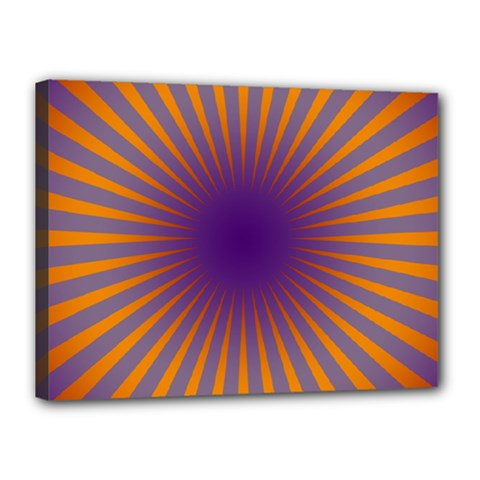 Retro Circle Lines Rays Orange Canvas 16  X 12