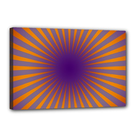 Retro Circle Lines Rays Orange Canvas 18  X 12