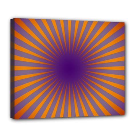 Retro Circle Lines Rays Orange Deluxe Canvas 24  X 20
