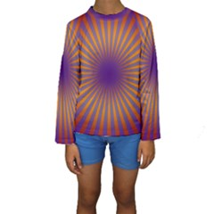 Retro Circle Lines Rays Orange Kids  Long Sleeve Swimwear