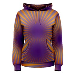 Retro Circle Lines Rays Orange Women s Pullover Hoodie