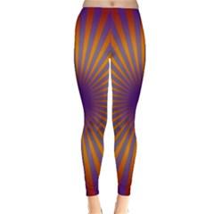 Retro Circle Lines Rays Orange Classic Winter Leggings