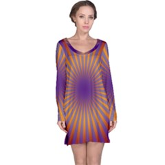 Retro Circle Lines Rays Orange Long Sleeve Nightdress