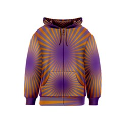 Retro Circle Lines Rays Orange Kids  Zipper Hoodie